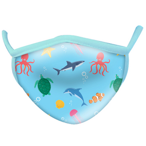 A child-sized non-medical face mask. The mask is light blue in colour and is patterned with an cartoon aquatic animal print.