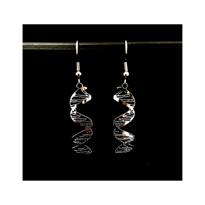 Two silver DNA double helix earrings hanging from a black bar in front of a black background
