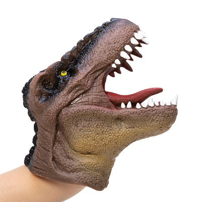 A stretchy t-rex dinosaur hand puppet that is brown in colour and realistic in style.