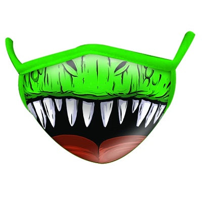 An adult-sized non-medical face mask. The mask is green in colour and is patterned with the lower half of a carnivorous dinosaur's face, giving the appearance that the wearer of the mask is roaring.