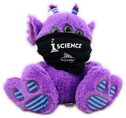 A black non-medical face mask modelled on a stuffed toy. The face mask has a white beaker decal along with the TELUS World of Science - Edmonton logo.