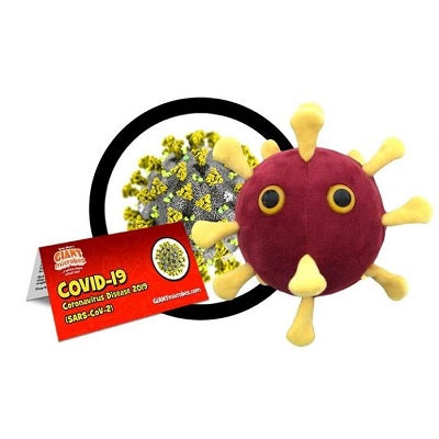 Plush stuffed toy of an anthropomorphized COVID-19 microbe. Microbe is dark red in colour with yellow spikes.