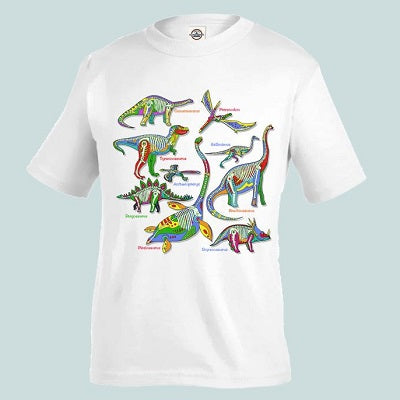 A white crew-neck style t-shirt with the Glowing Dinos t-shirt design printed across the chest