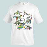 Load image into Gallery viewer, A white crew-neck style t-shirt with the Glowing Dinos t-shirt design printed across the chest