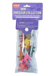 Retail packaging for the Mini Dinosaur Collection. Small plastic multicoloured dinosaur figures are packaged in a soft plastic polybag case with a snap closure.