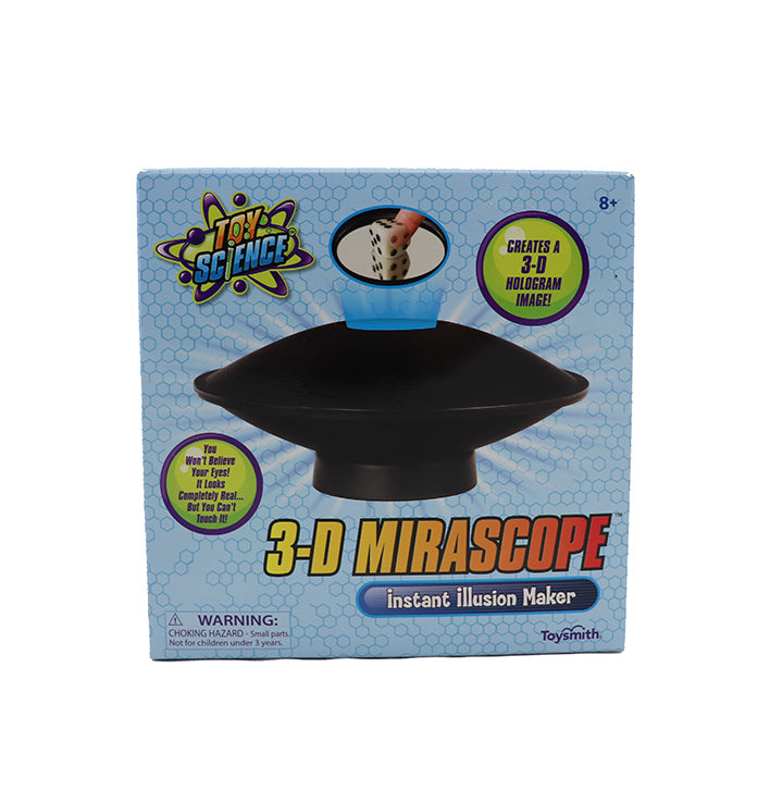 Front view of the blue packaging for 3D Mirascope. Product includes an image of the mirascope and text advertising 3D Mirascope: Instant Illusion Maker