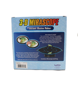 Back view of the blue packaging for 3D Mirascope. The packaging has a diagram illustrating how the curved mirrors of the mirascope create a 3d illusion.