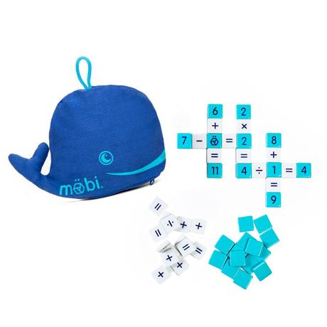 Tiled math game with sample white and blue math tiles displayed text to blue whale shaped carrying pouch
