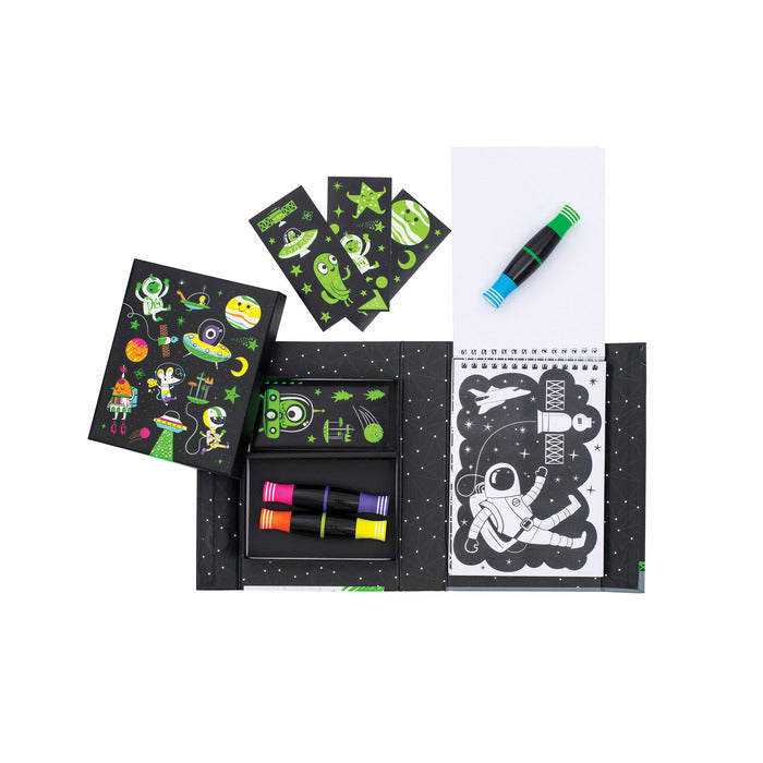 Contents of colouring kit including space themed colouring sheets, 3 double sided neon markers and stickers