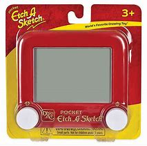 Retail packaging of pocket sized Etch A Sketch toy