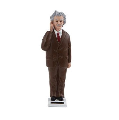 Solar Einstein figurine. Einstein is depicted as standing on a solar powered base in a brown suit and red tie, with his right hand poised against his temple as if deep in thought.