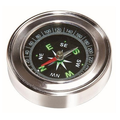 A stainless steel compass with glow in the dark face.