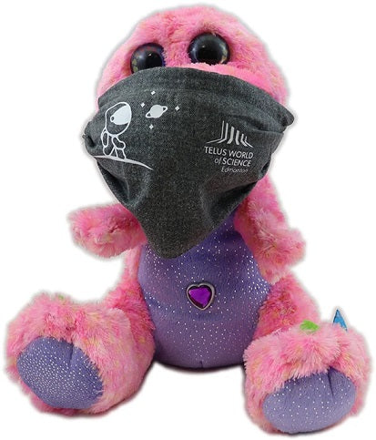 A grey non-medical face mask modelled on a stuffed toy. The face mask has a white astronaut decal along with the TELUS World of Science - Edmonton logo.