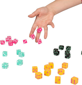 Demonstration of dice rolling game with 4 sets of coloured dice being rolled on a white surface