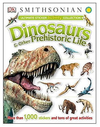 "Softcover Smithsonian Dinosaurs Sticker Book. Book cover depicts a range of realistic dinosaur stickers and advertises ""more than 1000 stickers and tons of great activities"""