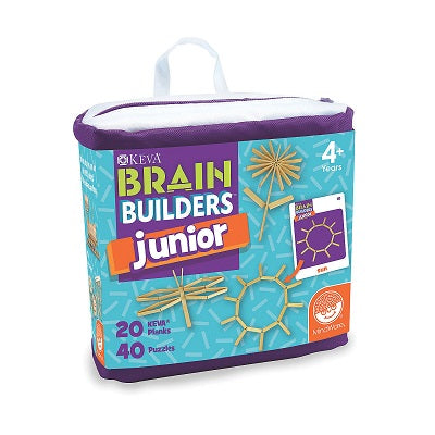 Retail packaging for the KEVA Brain Builders Junior game. The packaging illustrates the game components, which are game cards with geometric shapes and wooden planks that can be used to assemble the shapes on each game card.