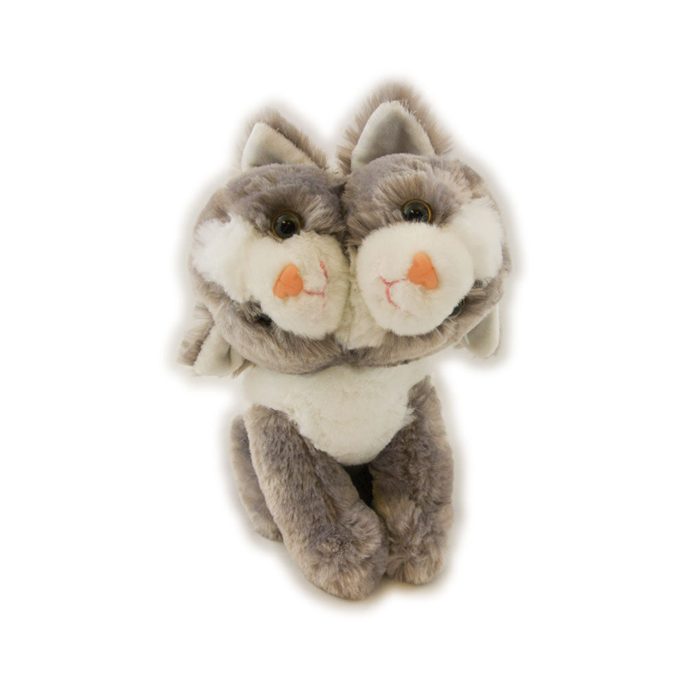 Two headed grey and white cat plush toy