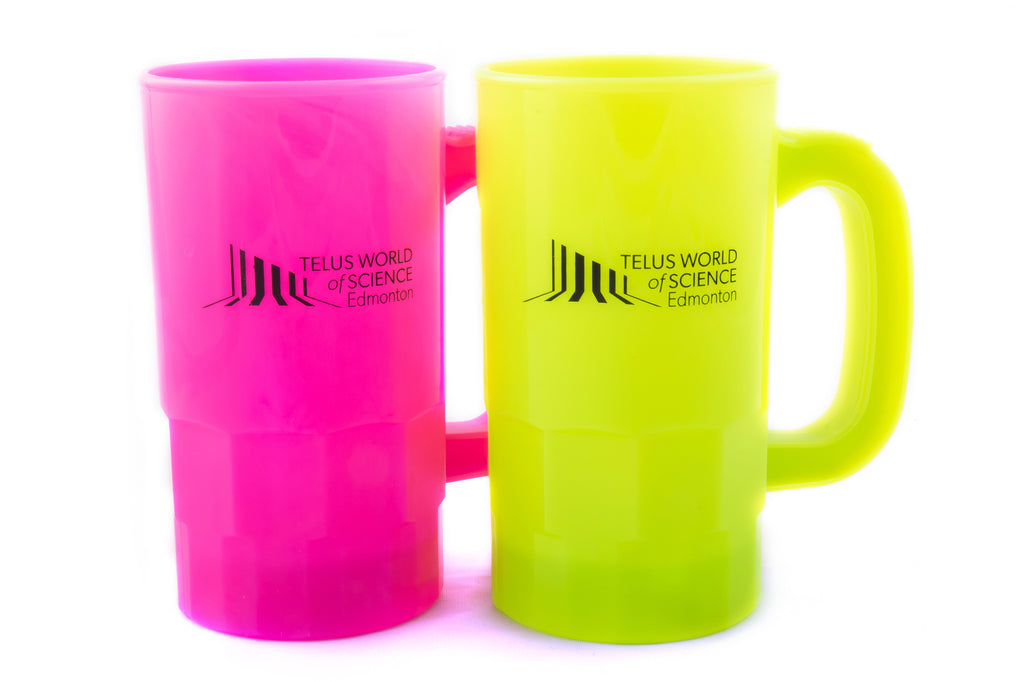 A pink and yellow plastic stein-style mug side by side. The mugs have a black TELUS World of Science - Edmonton logo printed in the centre of the mug.