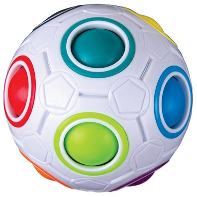 A white plastic puzzle ball with coloured circular holes and spheres showing through the circular holes. The puzzle ball is solved, so the colours of the inner spheres match the circular holes on the ball's exterior.