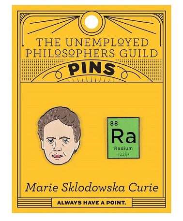 Orange card with 2 enamel pins - one of Marie Curie and one of the radium tile on the periodic table of elements