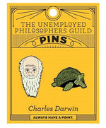 Load image into Gallery viewer, Orange card with 2 enamel pins - one of Charles Darwin and one of the Galapagos tortoise