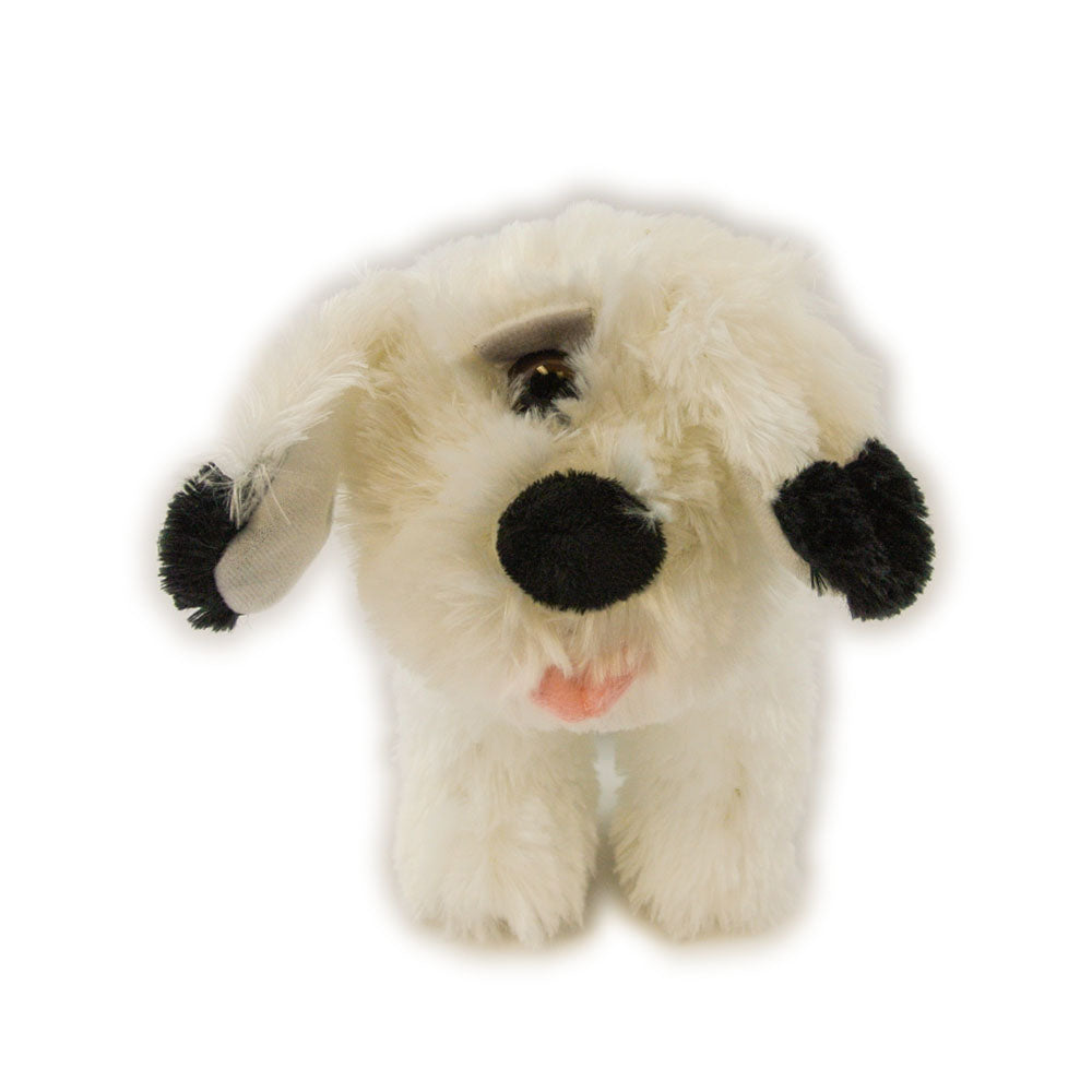 One eyed black and white dog plush toy