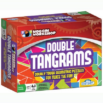"Retail packaging for the Double Tangrams game. The packaging advertises ""doubly tough geometric puzzles for twice the fun!"", ""for families"", ""ages 7+"""