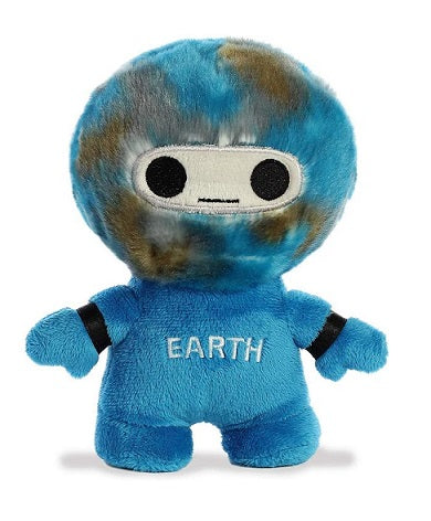 Blue anthropomorphized Earth stuffed toy