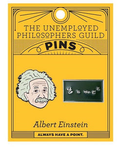 Orange card with 2 enamel pins - one of Einstein's head and one of Einstein's theory of special relativity
