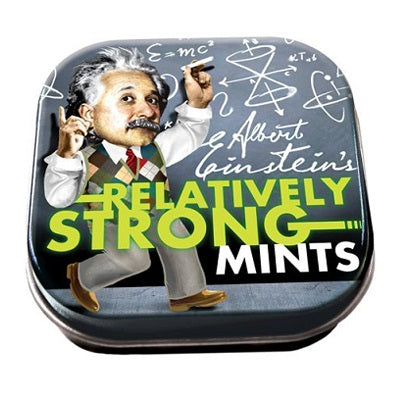 A small tin of Einstein's Relatively Strong Mints. The tin has an image of Albert Einstein dressed in a sweater vest, writing complex mathematical equations on a blackboard.