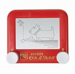 Load image into Gallery viewer, Demonstration of pocket sized Etch A Sketch toy with a picture of a dog and a bone drawn onto the display