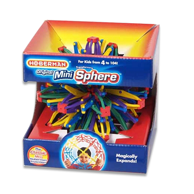 Retail packaging for a Hoberman Mini Sphere. The Mini Sphere resembles a Christmas tree and is made up of joints that will cause the sphere to magically expand.