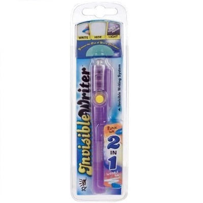 Retail packaging for the Invisible Writer 2-in-1 pen. The pen has a plastic purple casing and there is a bulb on the end to illuminate the invisible ink.