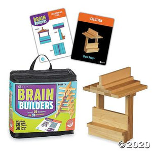 Contents of game including zip up travel carrying , wooden blocks, and game cards