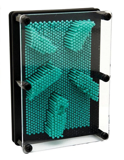 Teal plastic pin print novelty toy