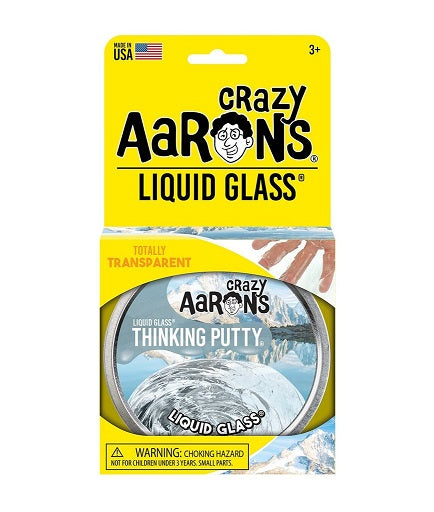 Transparent, liquid glass style putty in a tin with yellow retail packaging