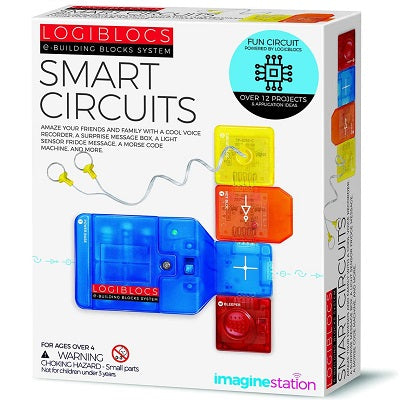 Retail packaging for Smart Circuits kit. Packaging shows plastic colourful Logibloc components snapped together.