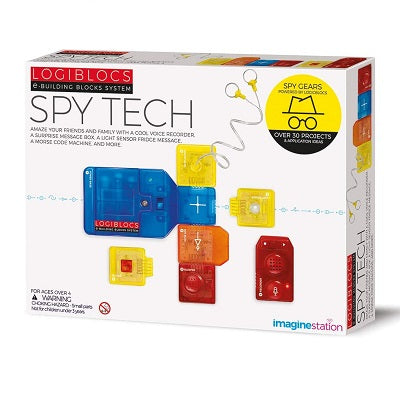 Retail packaging for Spy Tech kit. Packaging shows plastic colourful Logibloc components snapped together.