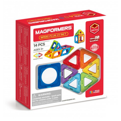 Retail packaging for the Magformers Basic Plus 14 magnet set. The box shows an assortment of geometric magnetic shapes that can be used to build structures.