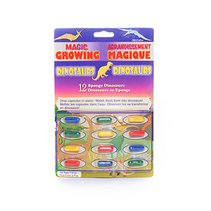 Retail packaging for Magic Growing Dinosaurs. Packaging depicts 12 multicolour capsules containing sponge dinosaurs.