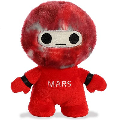 Red anthropomorphized Mars stuffed toy