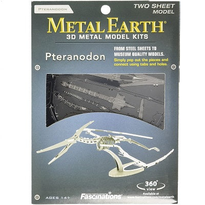 Retail packaging for the Metal Earth 3D Model Pteranodon kit. The packaging advertises that a Pteranodon model can be assembled from the flat steel sheets.