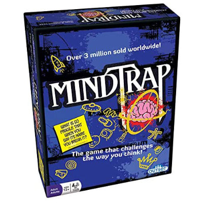 "Retail packaging for the MindTrap game which is a purple box with a cartoon brain. Text on the box reads ""over 3 million sold worldside!"" and ""the game that challenges the way you think!"""