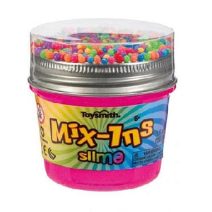 Container of slime with sensory mix-ins