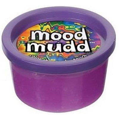 A round plastic container of Mood Mudd putty. The Mood Mudd is purple in colour.