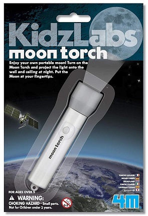 Retail packaging of flashlight toy that projects images of the Moon
