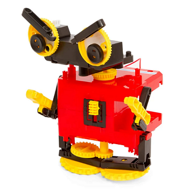 Example of 1 or 4 motorized robots that can be built with kit - red, yellow, and black rolling beast robot