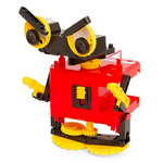 Load image into Gallery viewer, Example of 1 or 4 motorized robots that can be built with kit - red, yellow, and black rolling beast robot