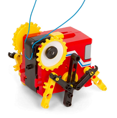 Example of 1 or 4 motorized robots that can be built with kit - red, yellow, and black running cricket robot