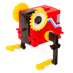 Example of 1 or 4 motorized robots that can be built with kit - red, yellow, and black walking robot